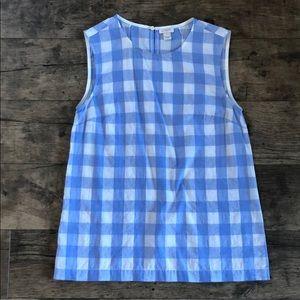 J. Crew blue & white plaid sleeveless top size 0